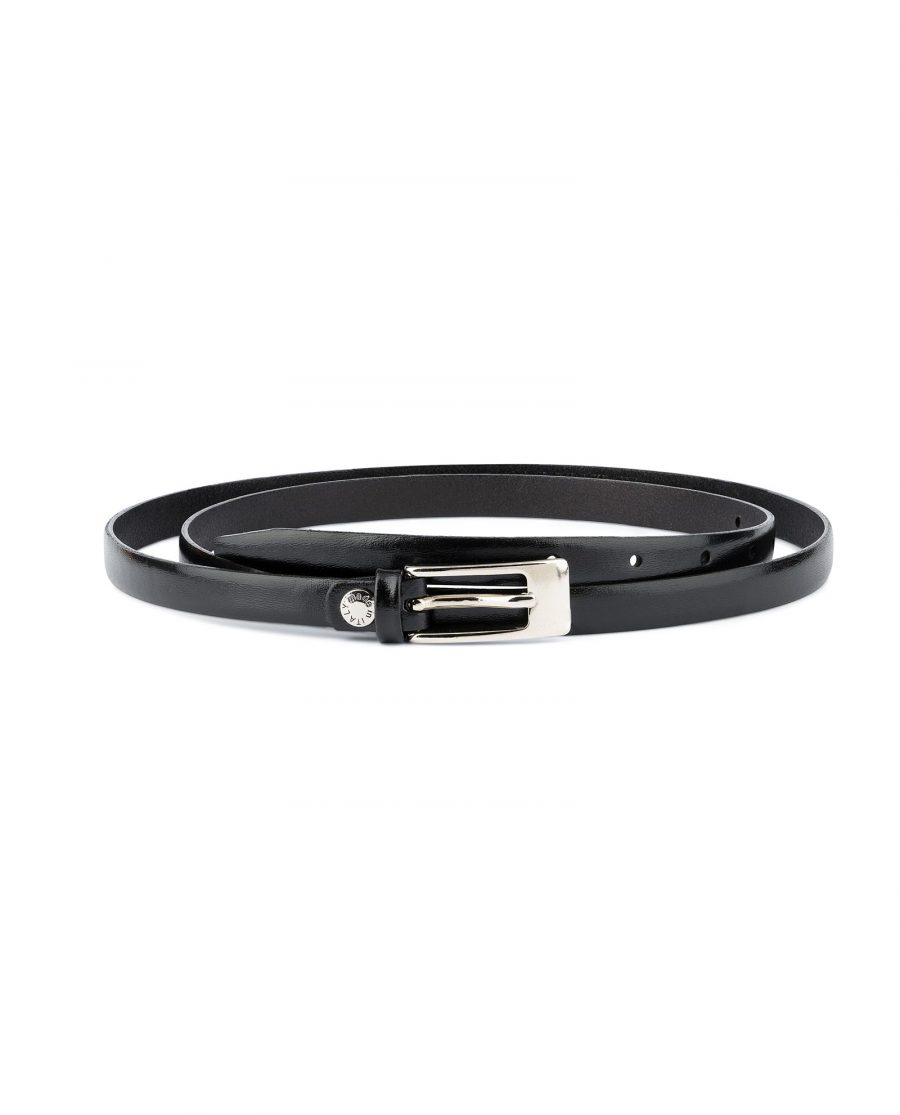 Womens Leather Belt for Dress Black With Silver Buckle Capo Pelle