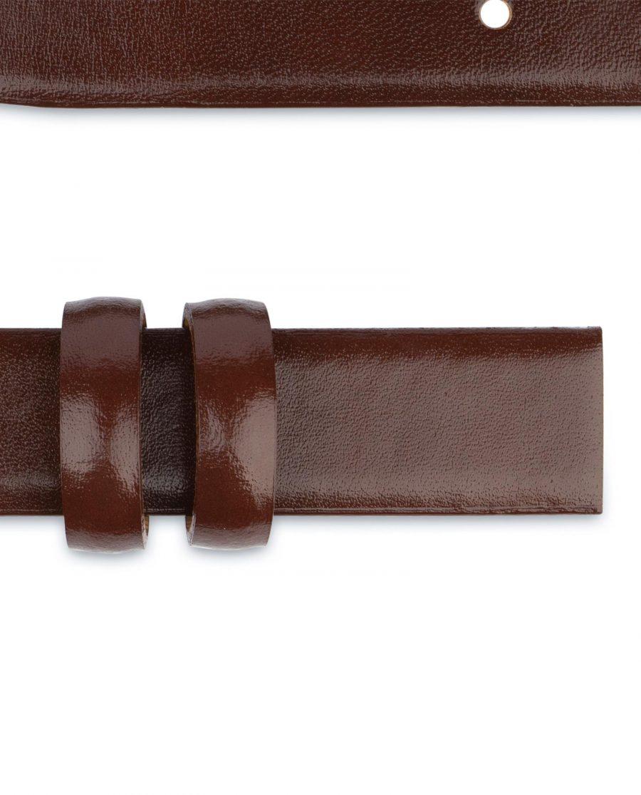 Brown Mens Belt for Buckles Cognac leather 1 inch Adjustable