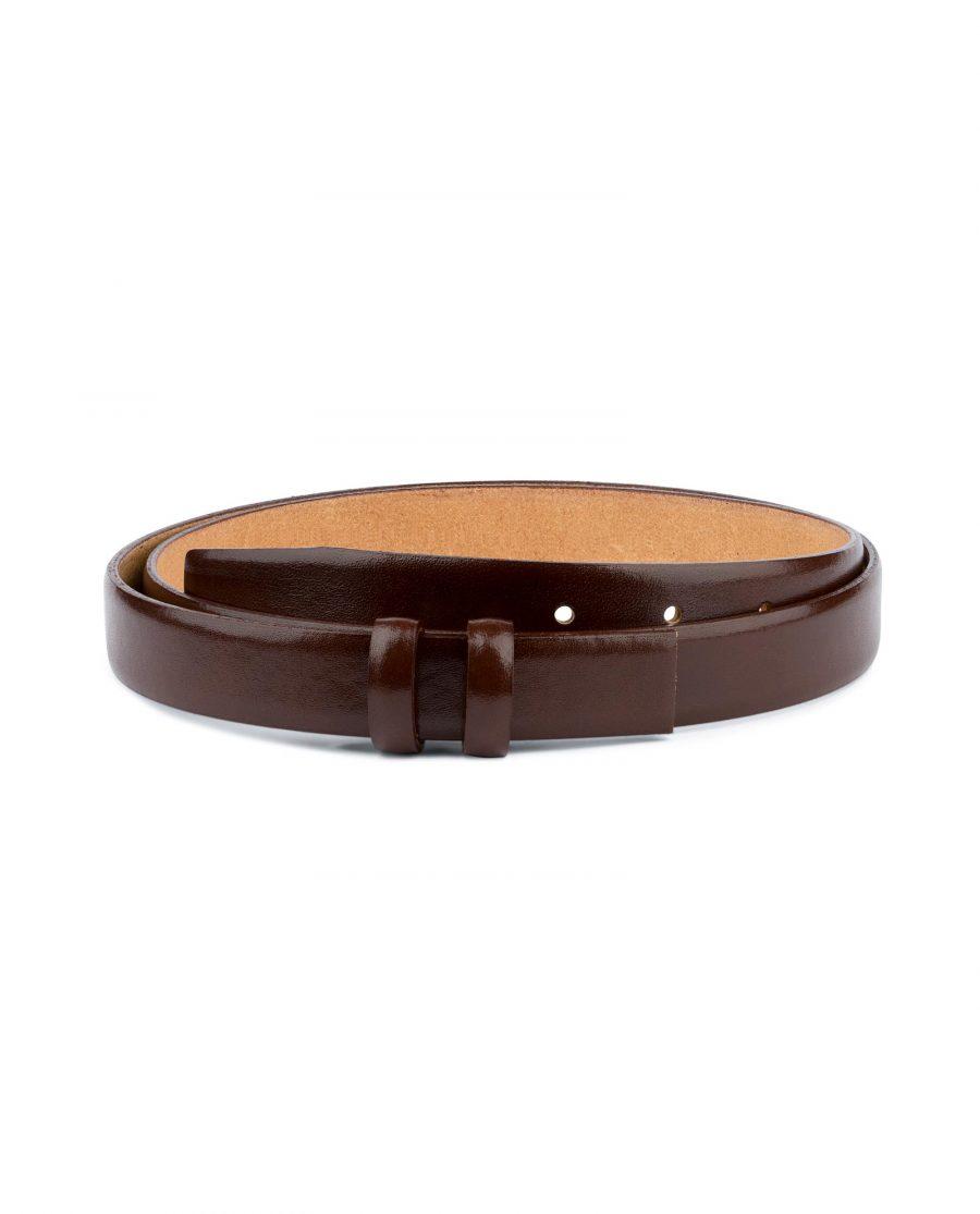 Brown Mens Belt for Buckles Cognac leather 1 inch Capo Pelle