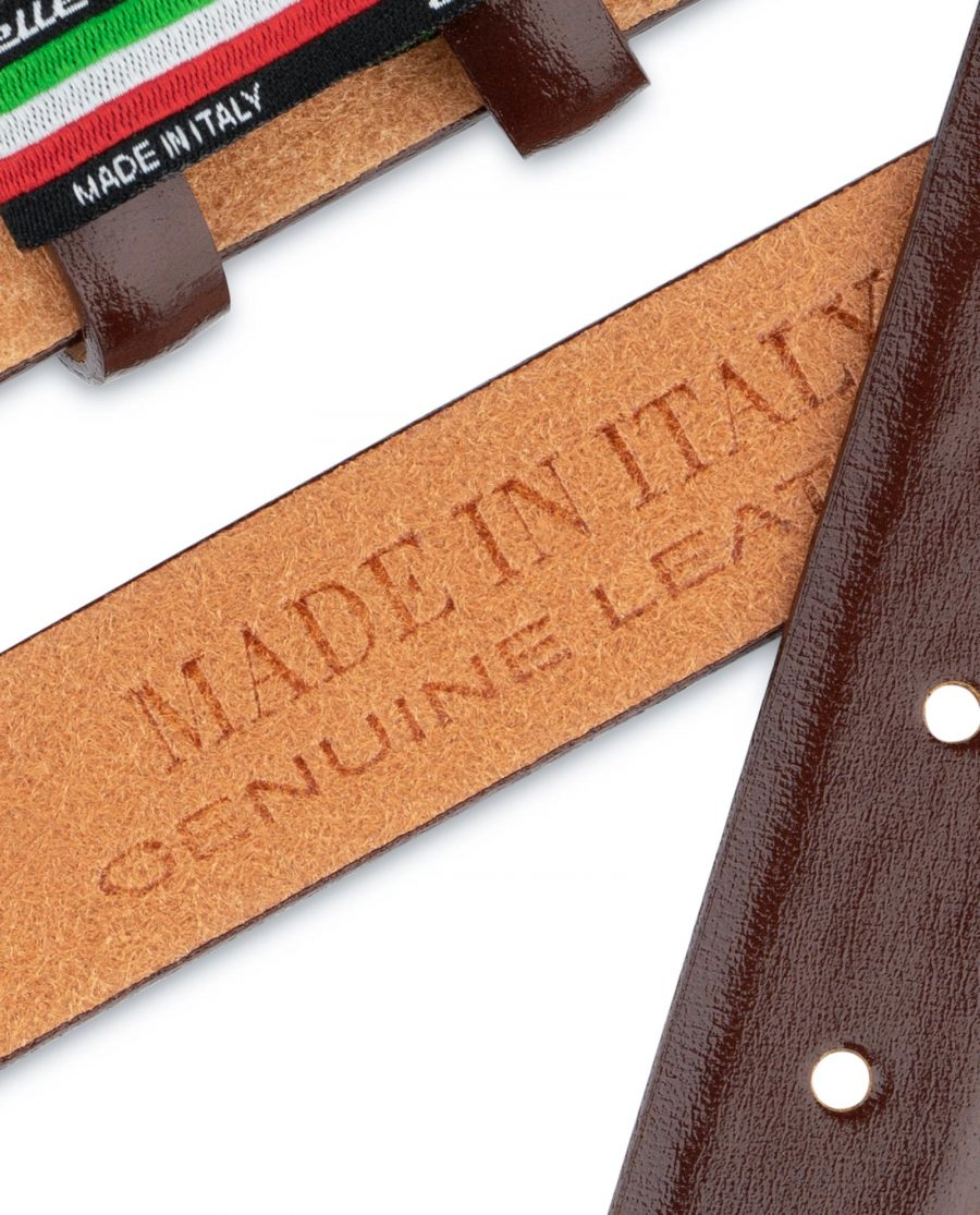 Brown Mens Belt for Buckles Cognac leather 1 inch Italian