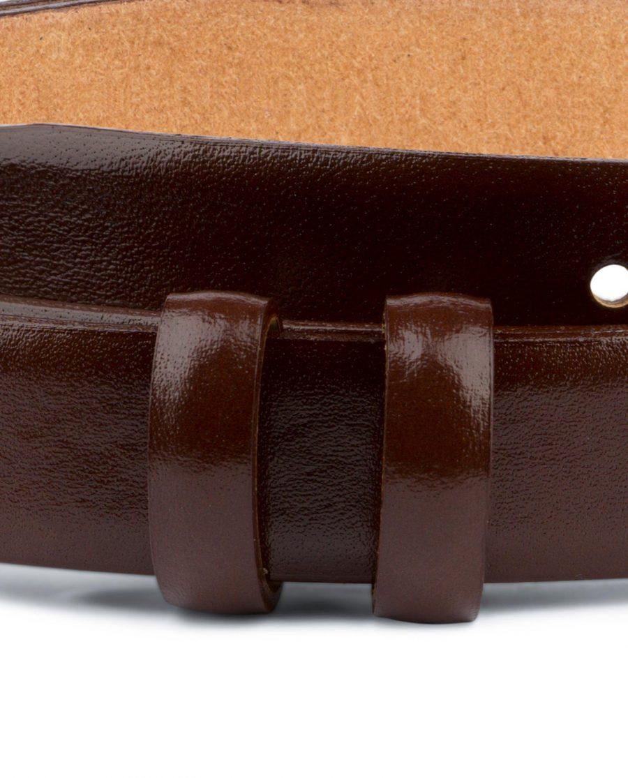 Brown Mens Belt for Buckles Cognac leather 1 inch Loops