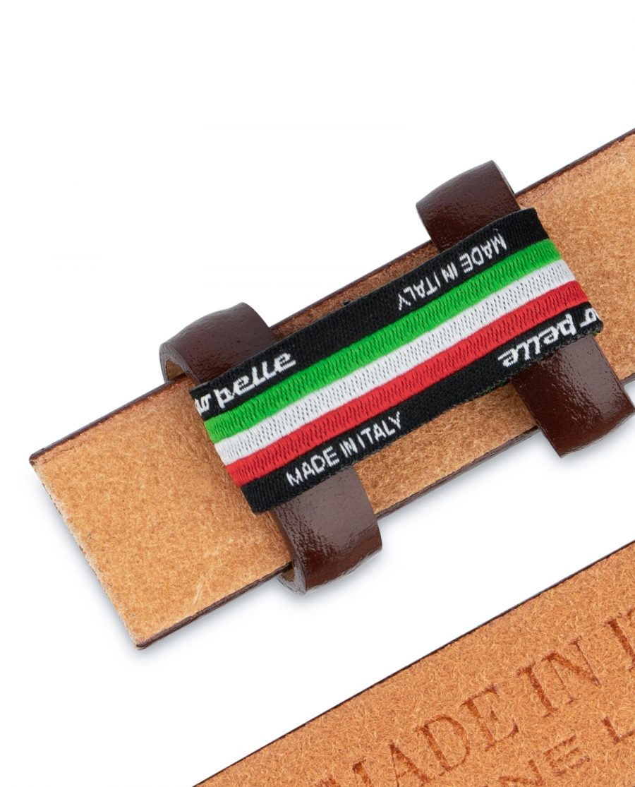 Brown Mens Belt for Buckles Cognac leather 1 inch Made in Italy