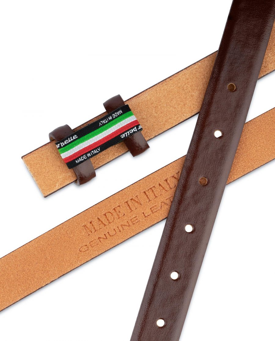 Brown Mens Belt for Buckles Cognac leather 1 inch Thin