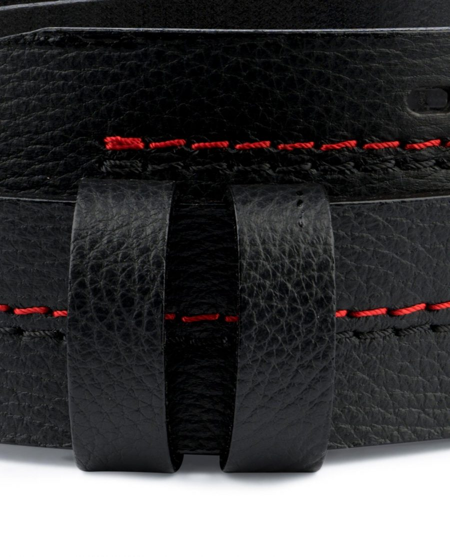 Double Prong Belt Without Buckle Black Genuine Leather