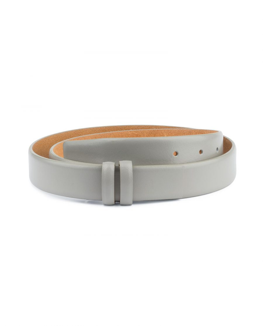 Grey Belt Without Buckle Genuine leather 1 1 8 inch Capo Pelle