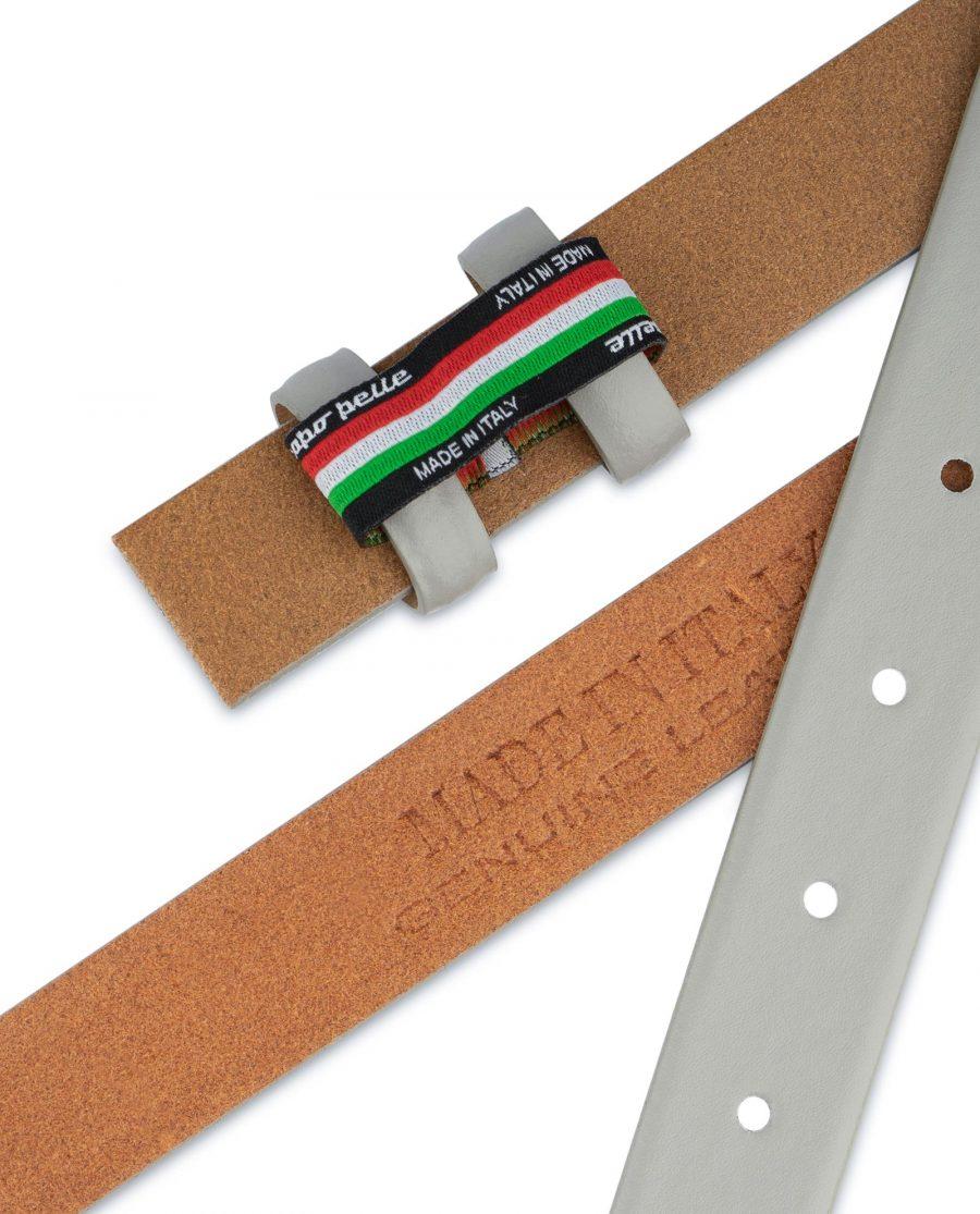 Grey Belt for Buckles Genuine leather 1 inch Adjustable