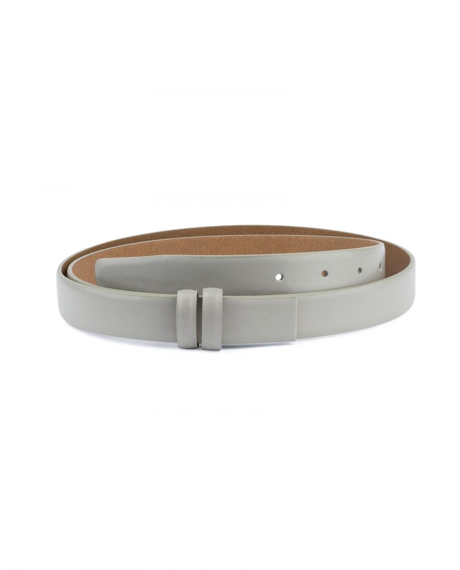 Grey Belt for Buckles Genuine leather 1 inch Capo Pelle