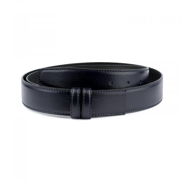 Navy Blue Mens Belt Without Buckle Genuine Leather Capo Pelle