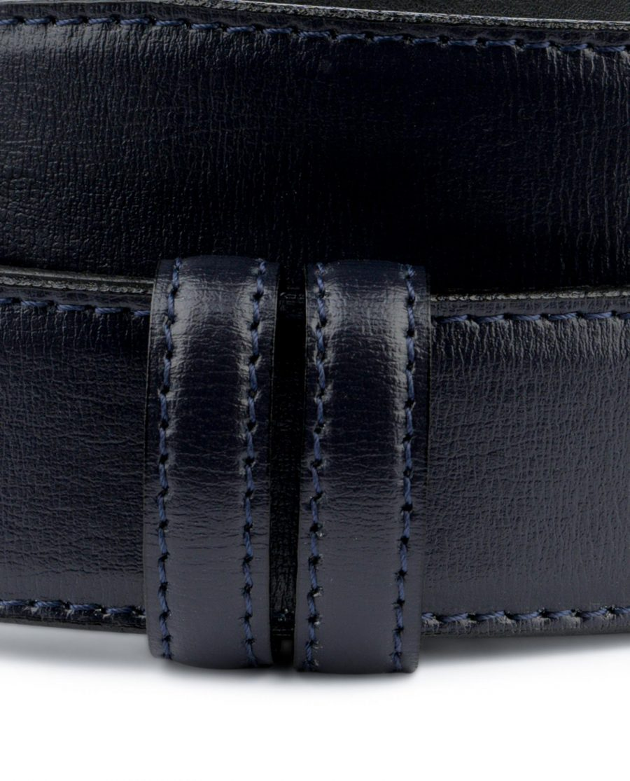 Navy Blue Mens Belt Without Buckle Genuine Leather Dress