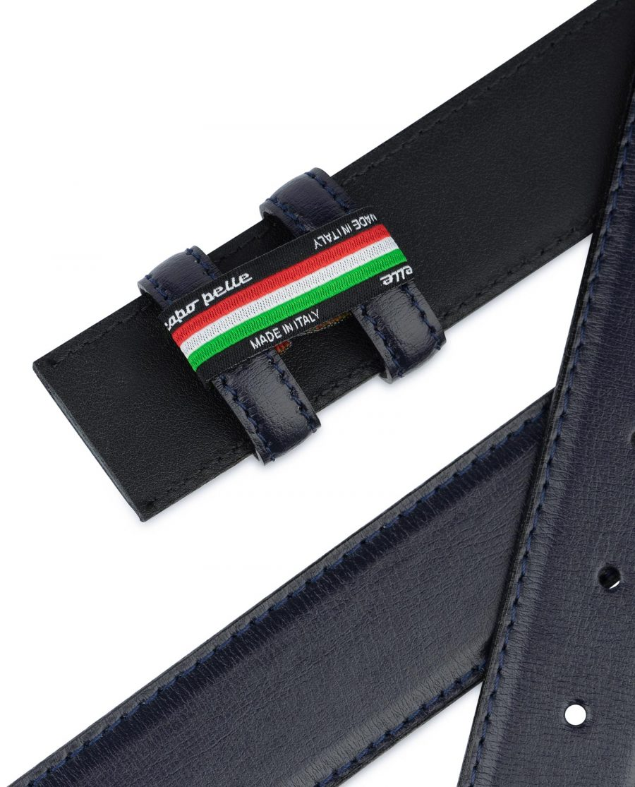 Navy Blue Mens Belt Without Buckle Genuine Leather Replacement