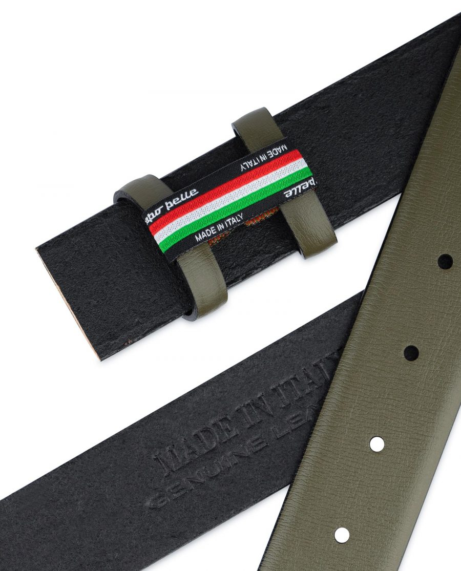 Olive Green Belt Without Buckle 1 3 8 Wide Genuine Leather