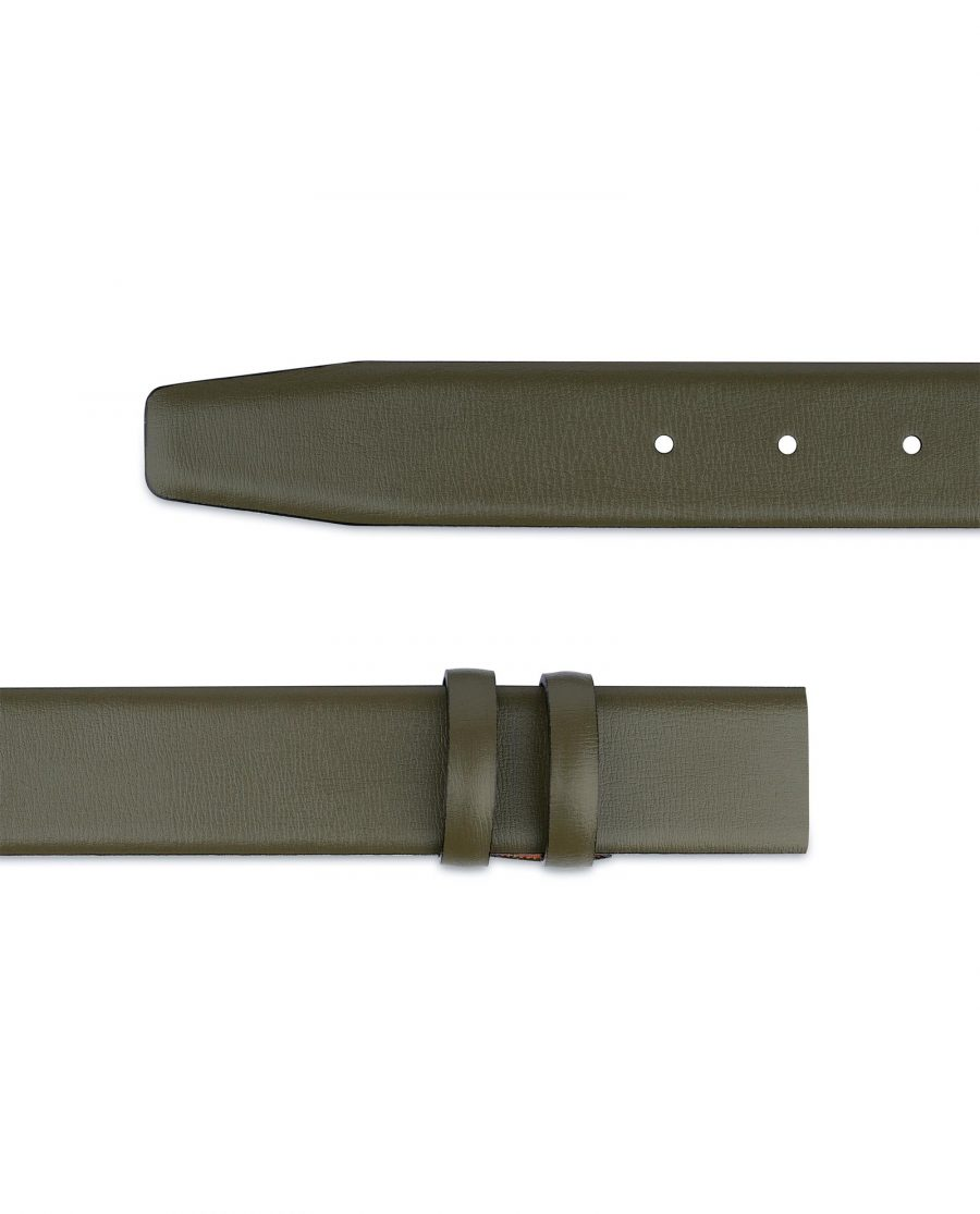 Olive Green Belt Without Buckle 1 3 8 Wide Leather Adjustable