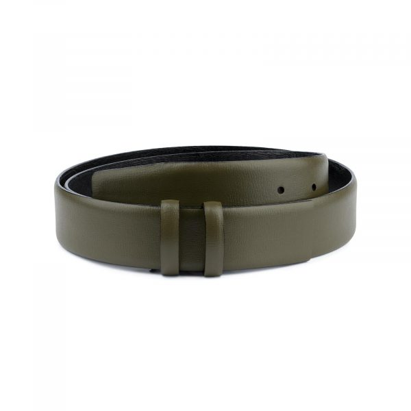 Olive Green Belt Without Buckle 1 3 8 Wide Leather Capo Pelle