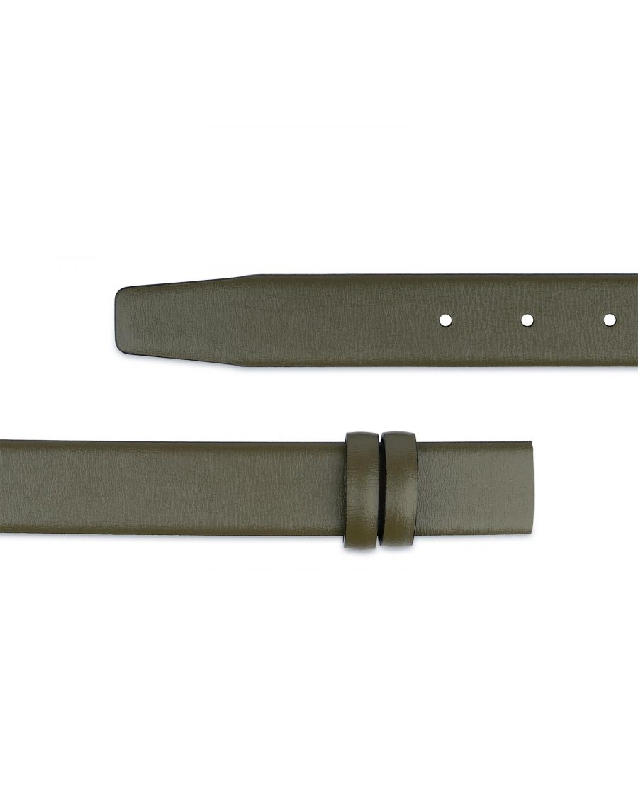Olive Green Belt Without Buckle Genuine leather 1 1 8 inch Adjustable