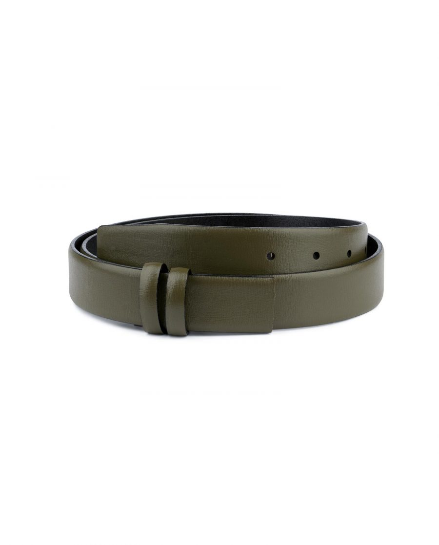 Olive Green Belt Without Buckle Genuine leather 1 1 8 inch Capo Pelle