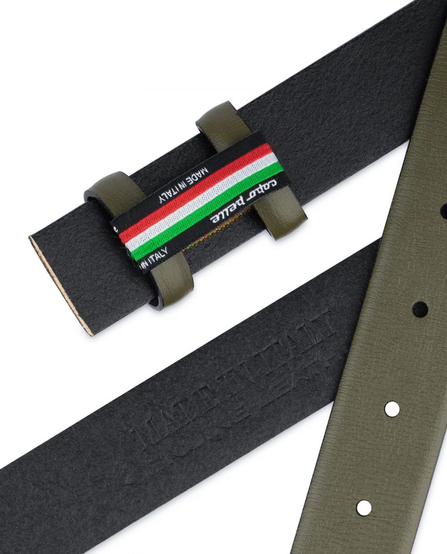Olive Green Belt Without Buckle Genuine leather 1 1 8 inch Made in Italy
