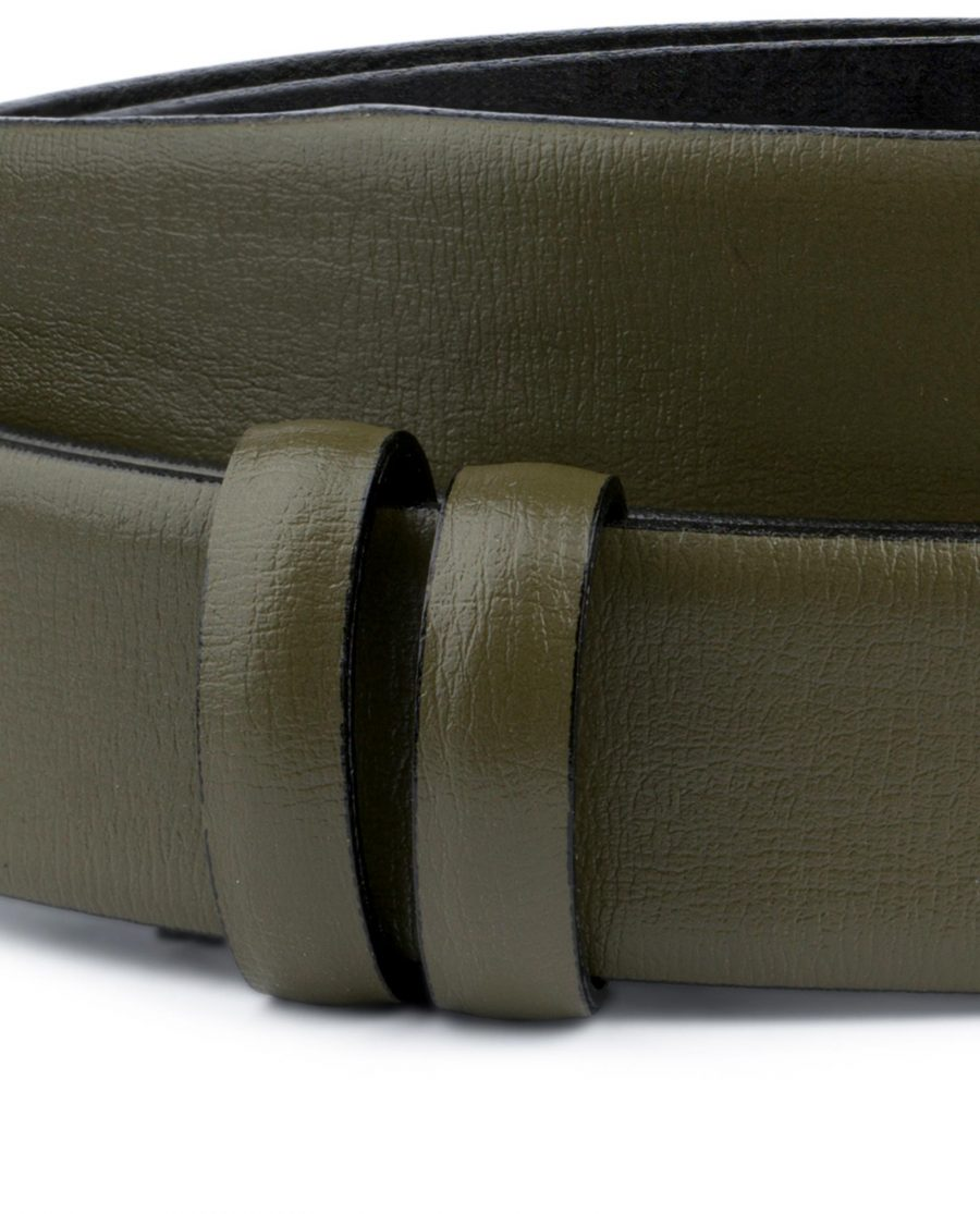 Olive Green Belt Without Buckle Genuine leather 1 1 8 inch Replacement