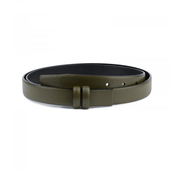 Olive Green Belt for Buckles Genuine leather 1 inch Capo Pelle