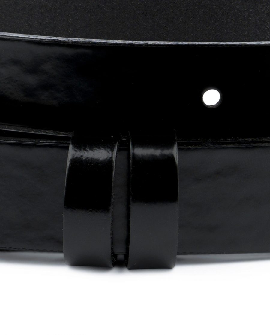 Patent Leather Belt for Buckles Black 1 inch Glossy