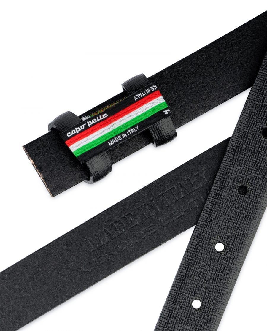 Saffiano Belt for Buckles Black 1 inch Genuine Leather