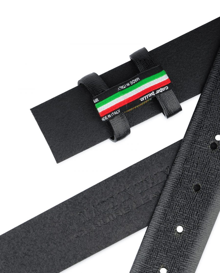 Saffiano Mens Belt Without Buckle Black 1 3 8 inch Adjustable