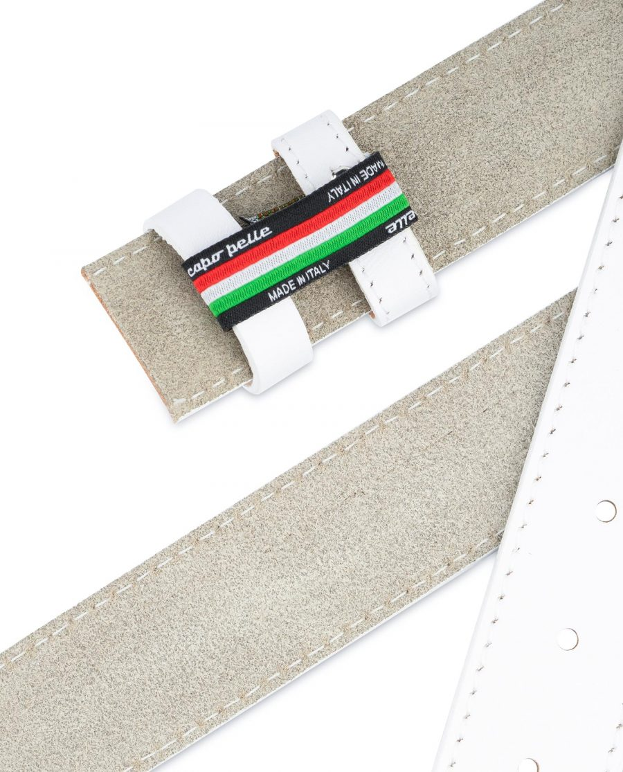 White Belt Mens Without Buckle 1 3 8 Genuine Leather