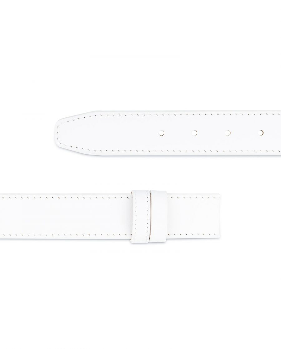 White Belt Mens Without Buckle 1 3 8 Wide Leather Adjustable