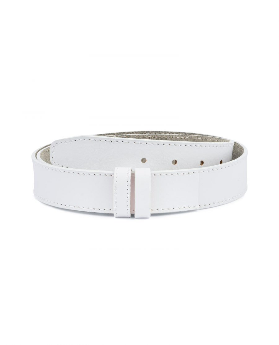 White Belt Mens Without Buckle 1 3 8 Wide Leather Capo Pelle