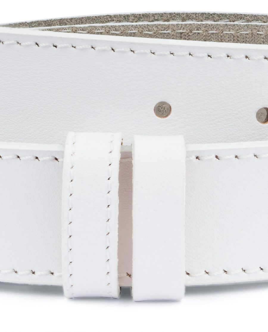 White Belt Mens Without Buckle 1 3 8 Wide Leather Replacement