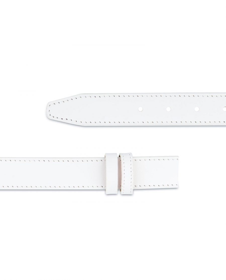 White Leather Belt Mens Without Buckle 1 1 8 Adjustable