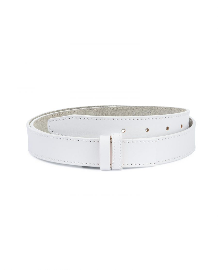 White Leather Belt Mens Without Buckle 1 1 8 Capo Pelle