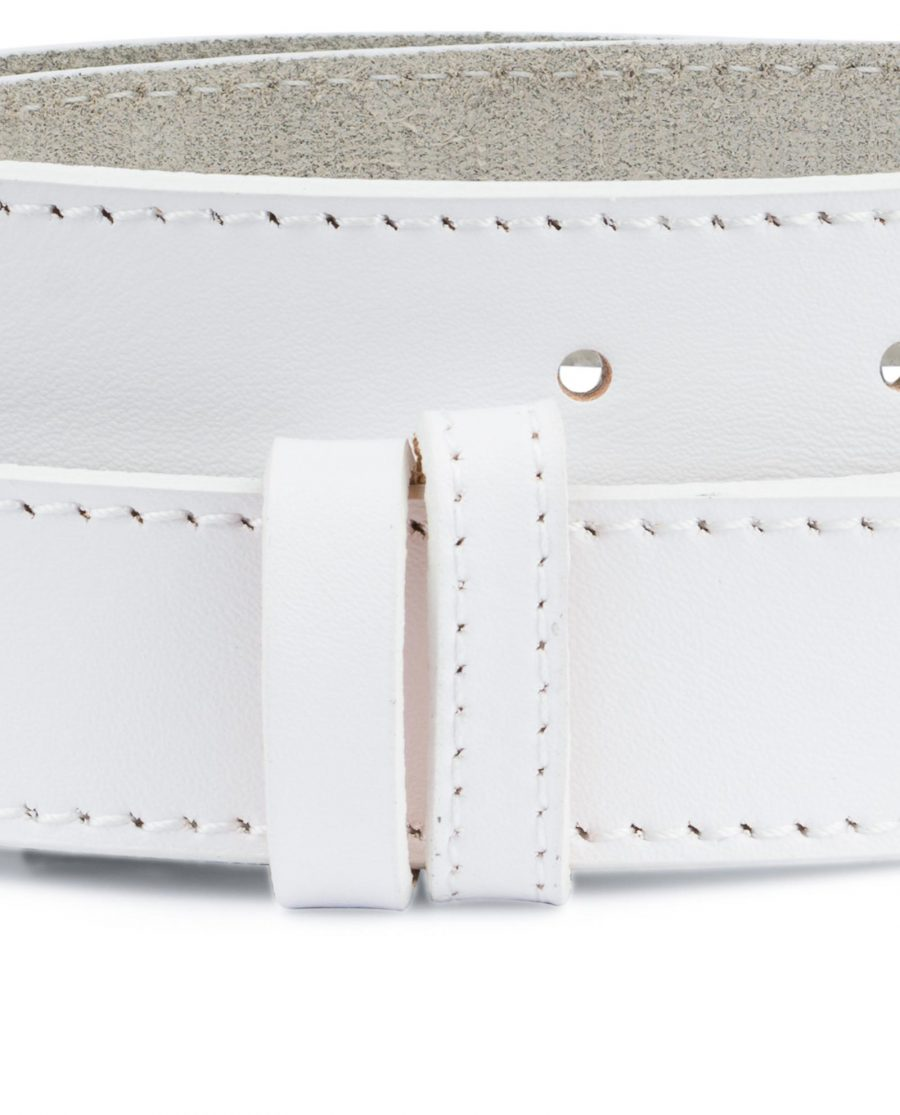 White Leather Belt Mens Without Buckle 1 1 8 Made in Italy
