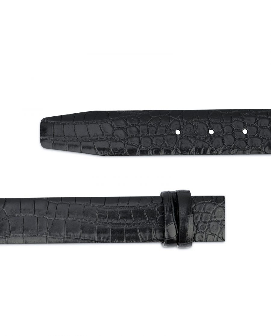 Black Croco Leather Strap for Belt Replacement Mens 2