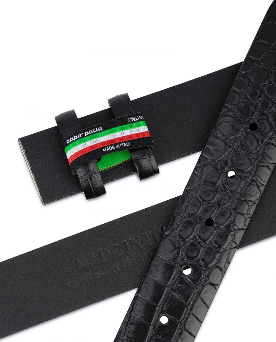 Black Croco Leather Strap for Belt Replacement Mens 3