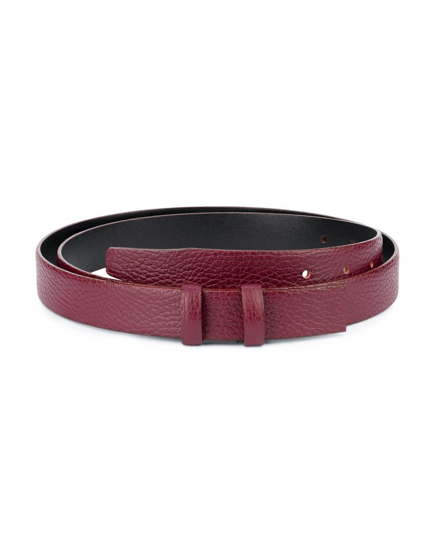 Burgundy Leather Strap for Belt Replacement 1 inch 1