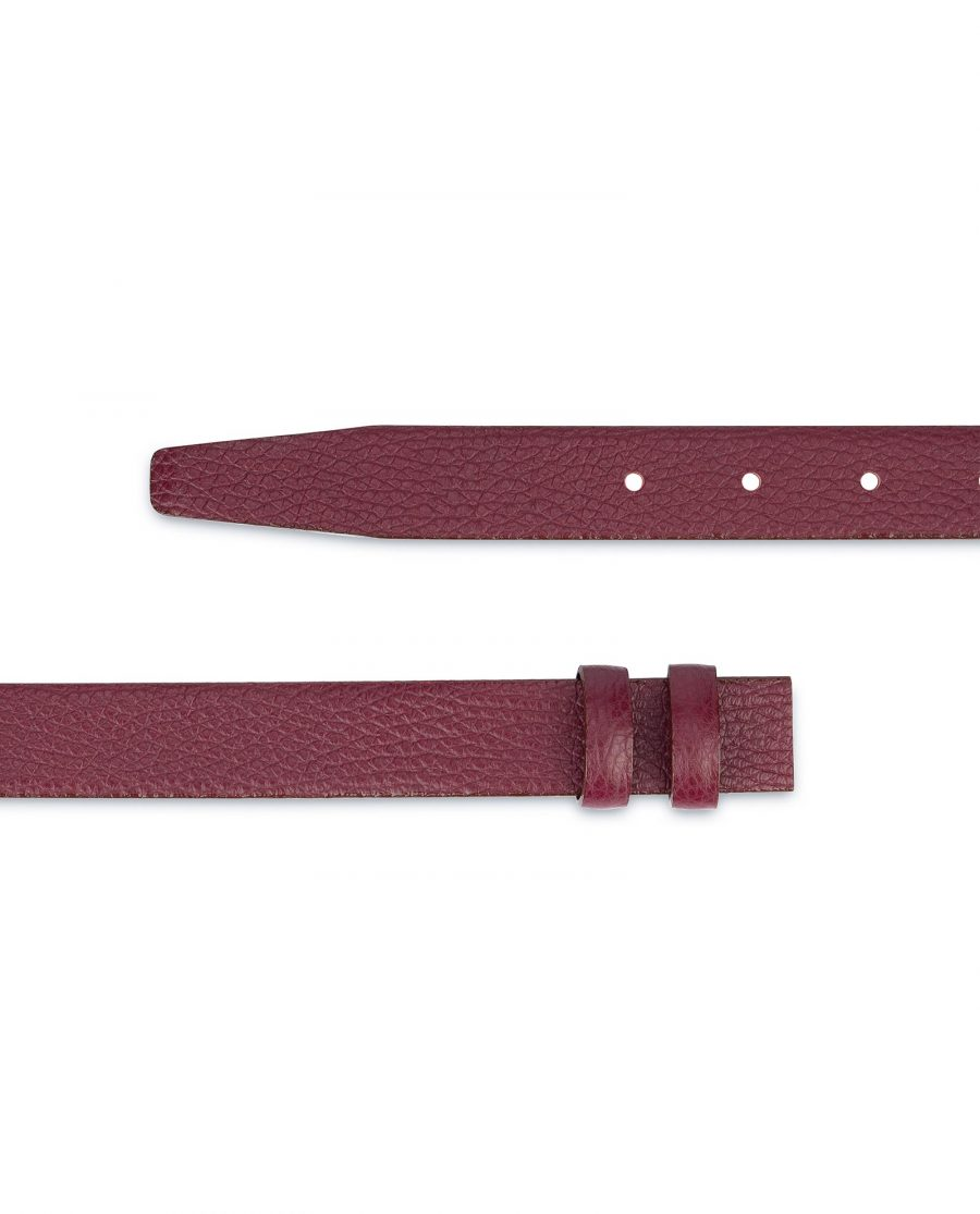 Burgundy Leather Strap for Belt Replacement 1 inch 2