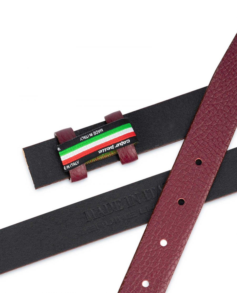 Burgundy Leather Strap for Belt Replacement 1 inch 3
