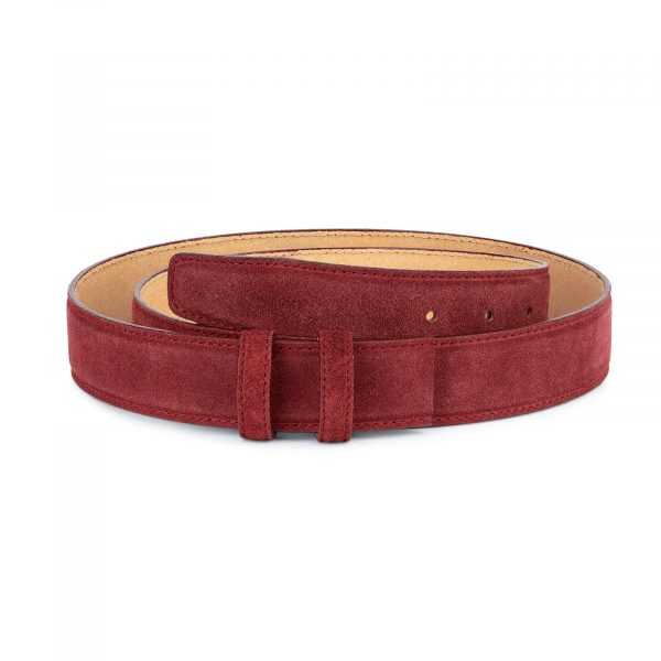 Burgundy Suede Leather Belt Strap 35 mm 1