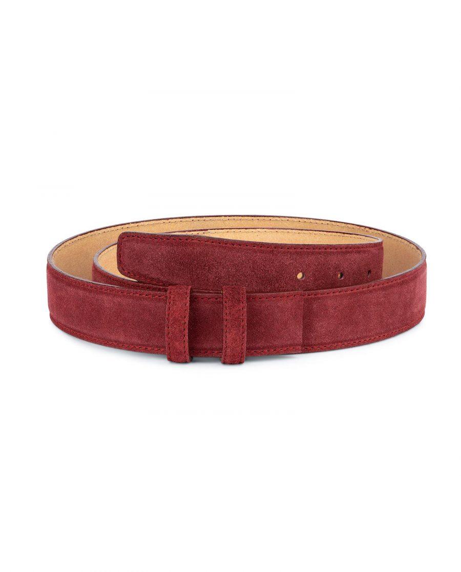 Burgundy Suede Leather Belt Strap 35 mm 1