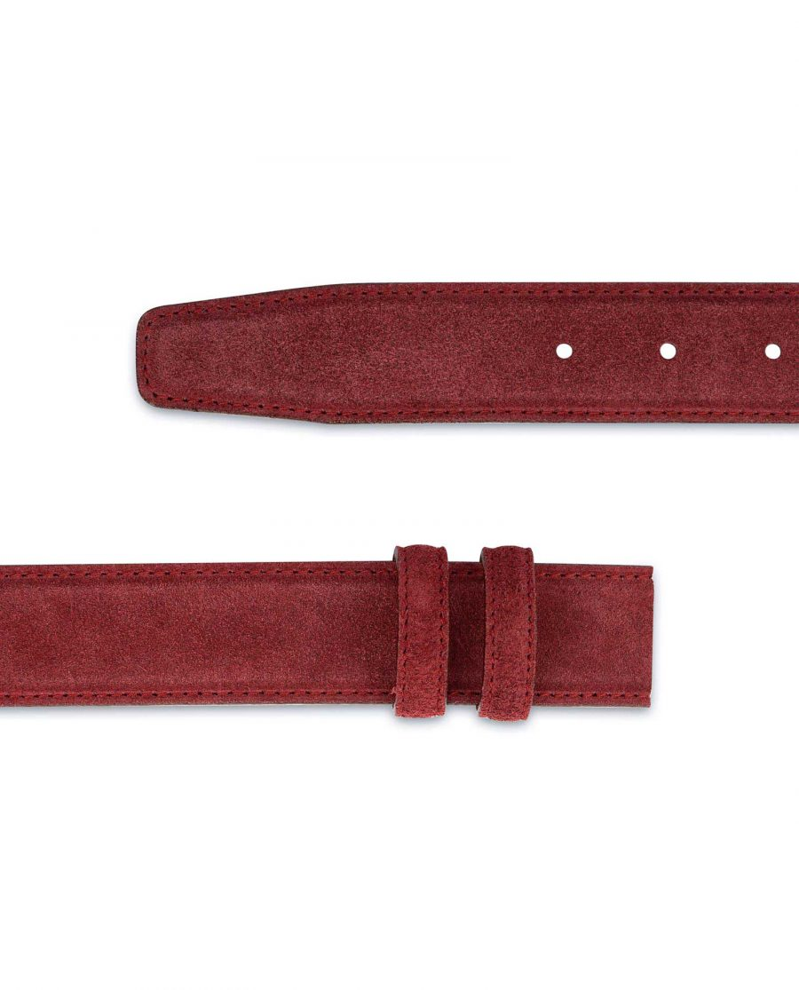 Burgundy Suede Leather Belt Strap 35 mm 2