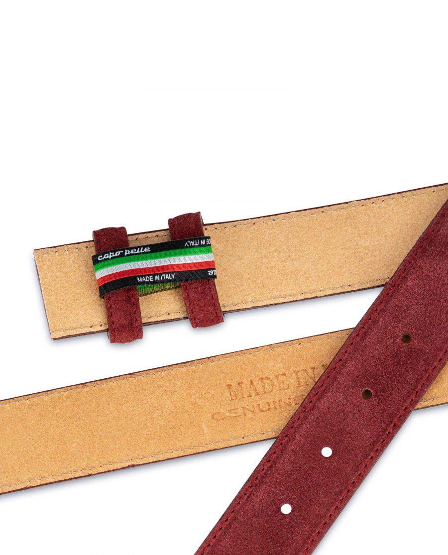 Burgundy Suede Leather Belt Strap 35 mm 3