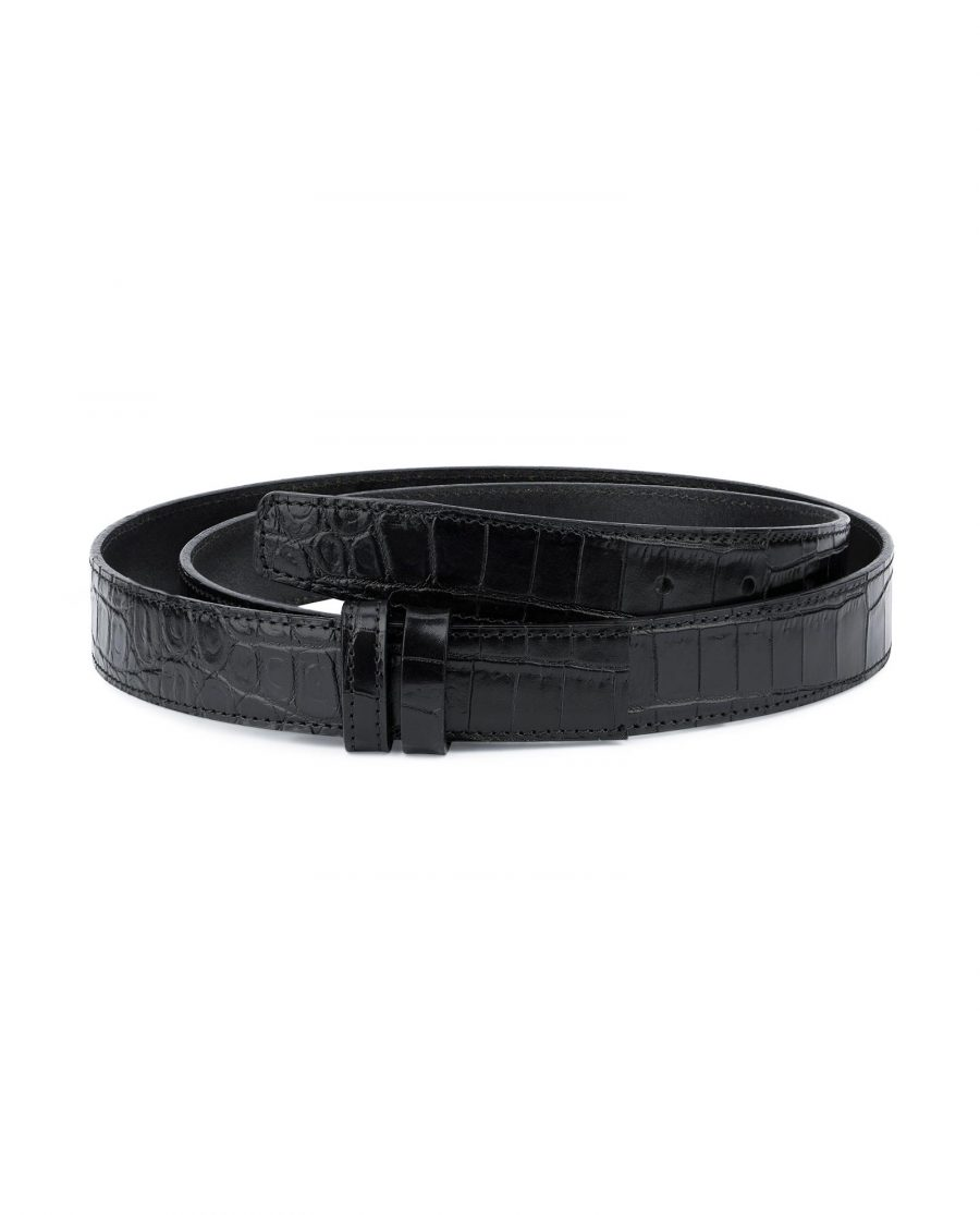 Crocodile Belt Strap No buckle Black Replacement 1