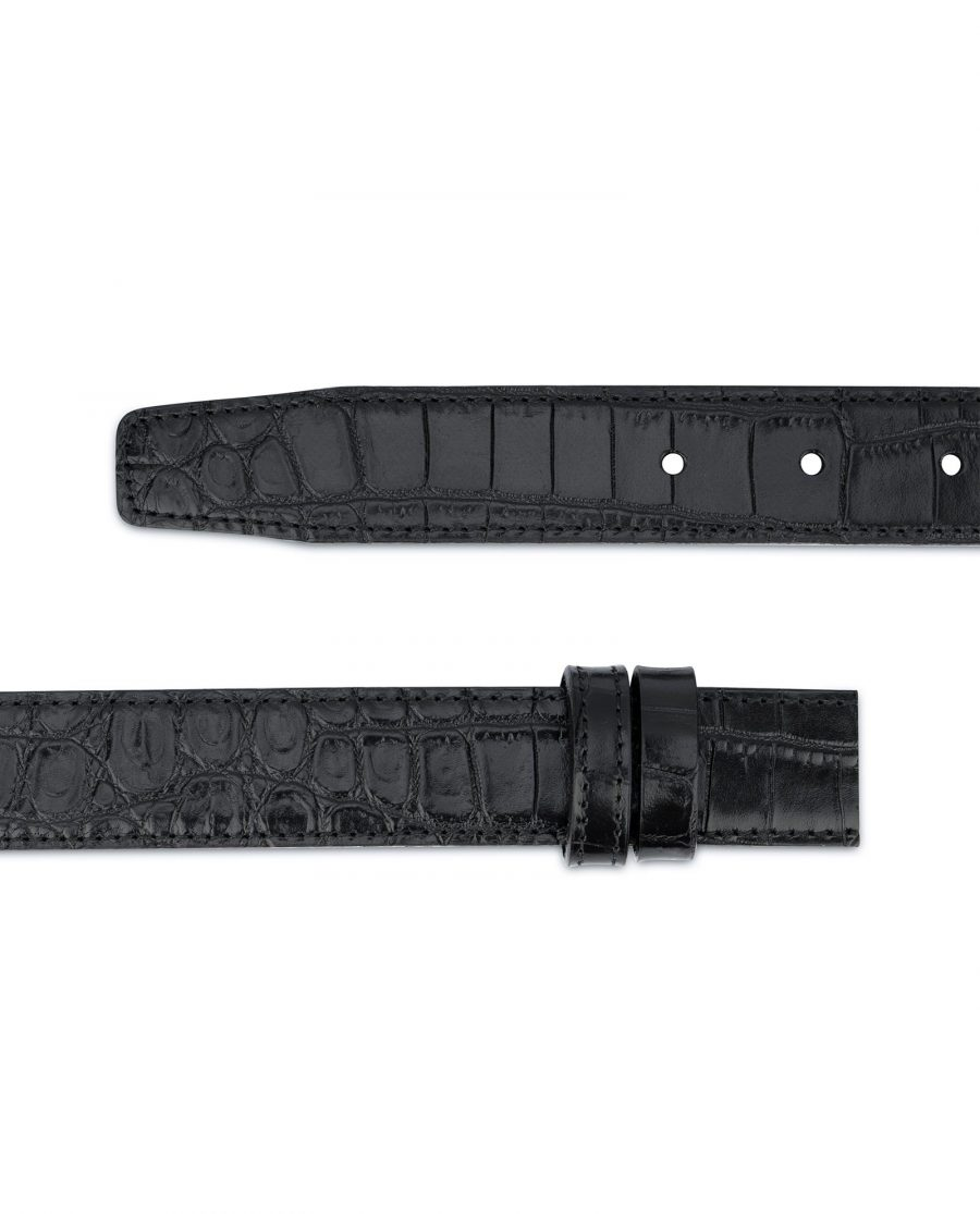 Crocodile Belt Strap No buckle Black Replacement 2