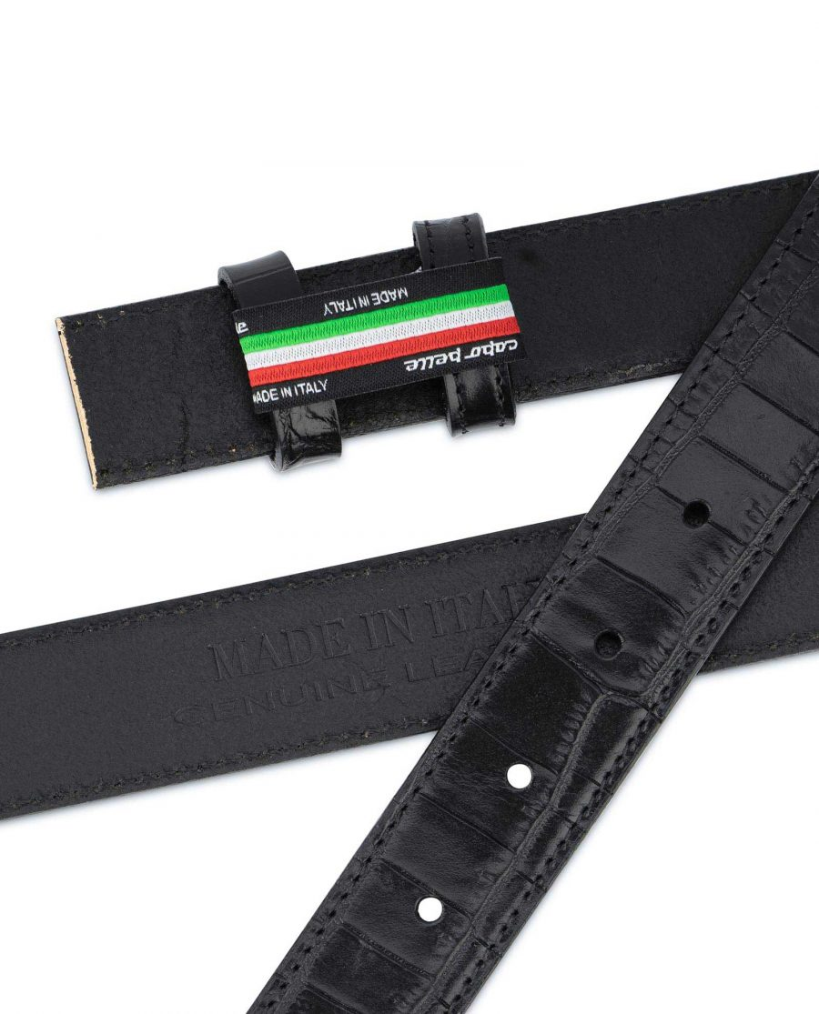 Crocodile Belt Strap No buckle Black Replacement 3