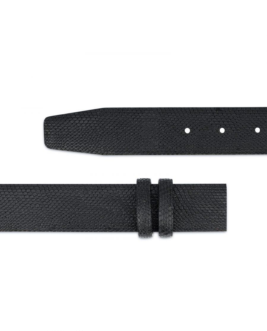 Mens Snakeskin Belt No Buckle Black Adjustable 2