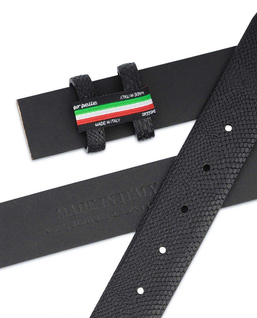 Mens Snakeskin Belt No Buckle Black Adjustable 3