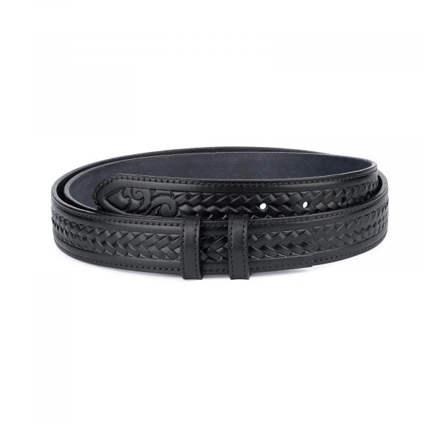 Tooled Leather Belt Strap no Buckle Black Full Grain 1