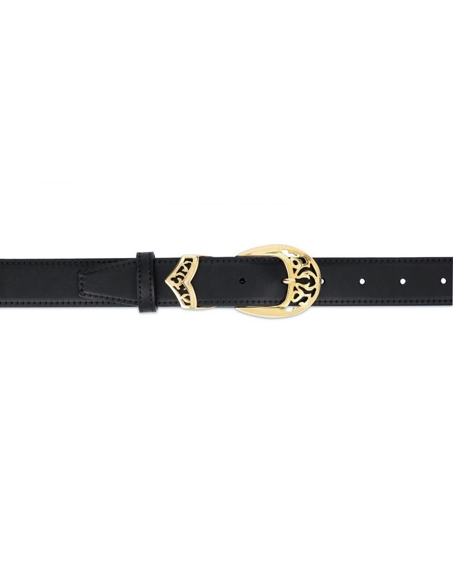 Black Belt with Gold Buckle Full Grain Leather 3