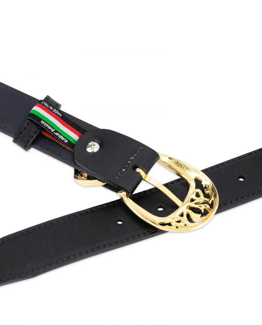 Black Belt with Gold Buckle Full Grain Leather 5