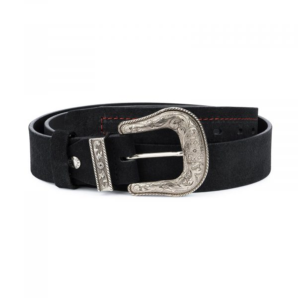 Black Cowboy Belt for Men Suede Leather 1
